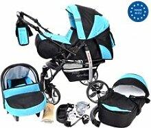Noir avec bleu x2 poussette - landau 3en1 avec