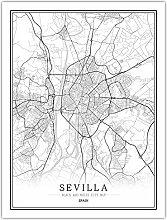 Noir et blanc carte du monde ville affiche