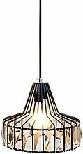 Noir Fer Lampe En Cristal,Tête E27 La Forme Du