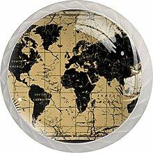Noir Poignée de Tiroir Boussole de carte du monde