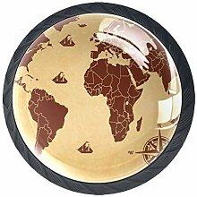 Noir Poignée de Tiroir Carte du monde boussole