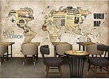 Nordique rétro carte du monde papier peint Mural