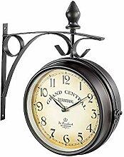 Nostalgie Horloge de Gare avec Deux Côtés Cadran