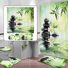 Nouveau rideau de douche 3D en bambou vert,