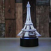 Nouveauté Éclairage 7 Coloré Tour Eiffel Led 3D