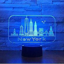 Nuit Lumière Illusions Optiques 3D LED Lampe New