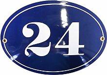 Numéro de rue   oval 15x21 cm   plaque emaillée
