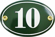 Numéro de rue   oval 7x10,5 cm   plaque emaillée