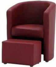 Nuno fauteuil cabriolet + pouf en simili rouge - l