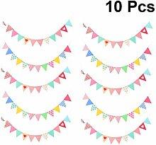 NUOBESTY 10pcs Triangle coloré bannière Drapeaux