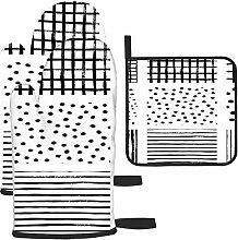 nxnx Gants de cuisine et maniques à rayures