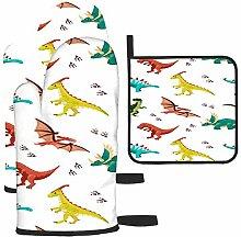 nxnx Maniques colorées avec dinosaures - Gants de
