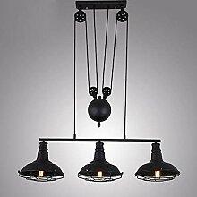 NZDY Lampe Pendante de Poulie Noire À 3 Têtes,