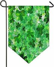 Oarencol Fanion de jardin avec trèfle vert à