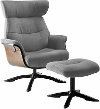 OBANOS - Fauteuil Inclinable + Repose-Pieds Gris -