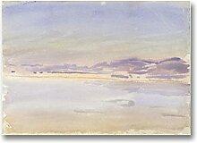 Océan aquarelle toile impression au-dessus du lit