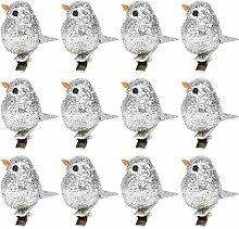 Oiseau Artificiel, 12 pièces Paillettes Argent