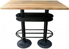 OLDWOOD - Table bistrot/industriel plateau effet