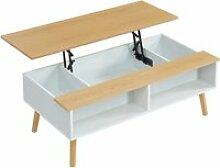 Olea table basse scandinave avec plateau relevable