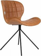 OMG - Chaise design aspect cuir marron