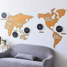 Ommda Horloge Murale Stickers Geante 3D Carte du