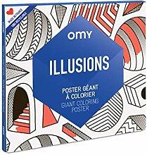 OMY - Poster Géant à Colorier Illusion - 100 cm