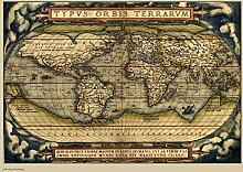 onthewall Carte du Monde Vintage Poster Art Prin