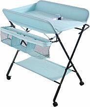 Oobest - Table à langer portable pliable bleu -