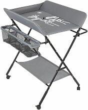 Oobest - Table à langer portable pliable gris -