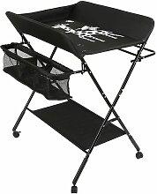 Oobest - Table à langer portable pliable noir -