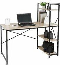 OOBEST ® Table de bureau en bois et acier Style