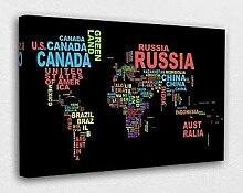 oqsyyxgs Carte du monde sur toile murale avec nom
