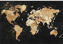 Or noir carte du monde peintures impression sur