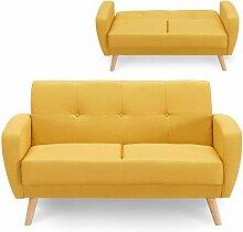 OSLO - Canapé 2 places convertible en tissu jaune