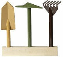 Outil de jardinage Orte / Set de 3 - Base en bois