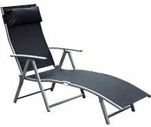 Outsunny transat chaise longue bain de soleil
