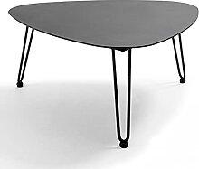 Oviala Table Basse de Jardin Noir Triangulaire 76