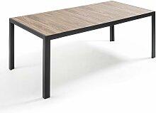 Oviala - Table de jardin aluminium et céramique