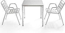 Oviala Table de Jardin et 2 fauteuils Gris Carré