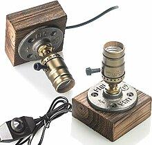 OYGROUP 2 Pack Lampe de nuit en bois Lampe de