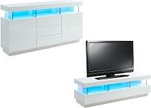 Pack FABIO : Buffet + Meuble TV - Coloris blanc
