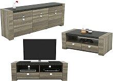 Pack METEORITE: Buffet + table basse + meuble TV -