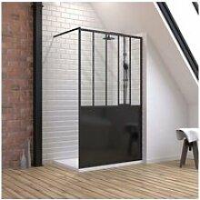 Pack paroi de douche 120x200 cm noir mat +