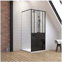 Pack paroi de douche 90x200 cm noir mat + receveur