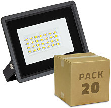 Pack Projecteur LED Solid 20W (20un) Blanc Chaud