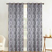 Paire de rideaux tamisants baroque polyester gris