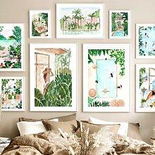 Paix maroc piscine fête fille palmier feuille de