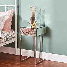 Panana – Table de chevet en verre miroir avec