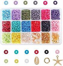PandaHall 5700pcs 15 Couleurs 4mm Perles Rondes