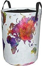 Panier à linge rond,Carte du monde aquarelle